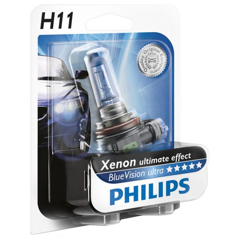 Галогеновая лампа Philips  H11 (12v/55w)  Blue Vision Ultra блистер 1шт