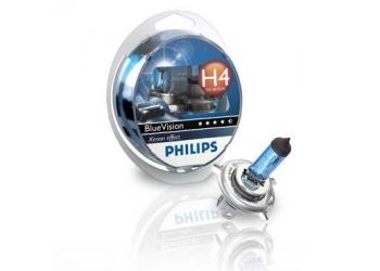 Галогеновая лампа Philips H4 Blue Vision блистер 1 щт