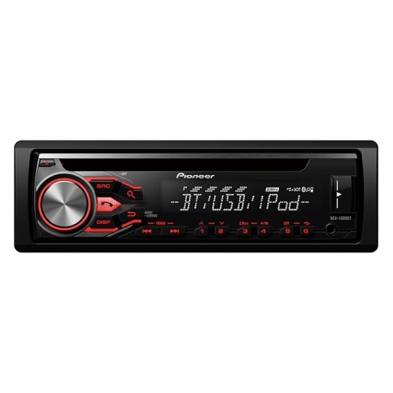 Автомагнитола PIONEER DEH-4800BT, 1DIN, CD/MP3-проигрыватель, 4X50Вт, USB, AUX-вход, с поддержкой FLAC, Bluetooth