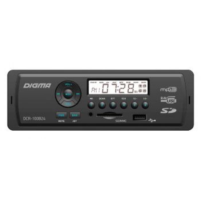 Автомагнитола Digma DCR-100b24, 1DIN, 4X45Вт, USB/SD, AUX-вход, 24 вольта