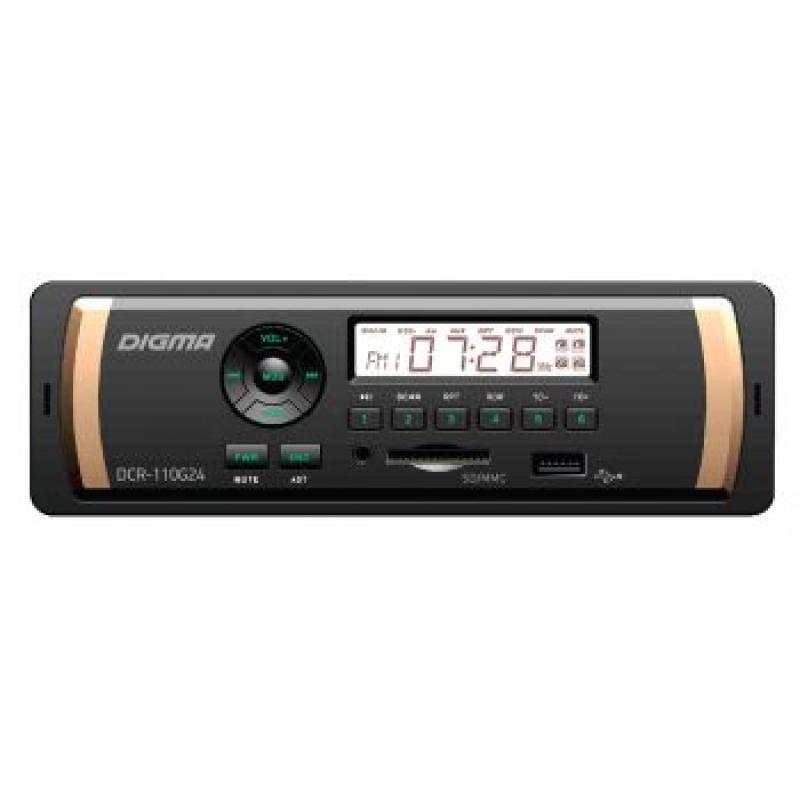 Автомагнитола Digma DCR-110G24, 1DIN, 4X45Вт, USB/SD, AUX-вход, 24 вольта