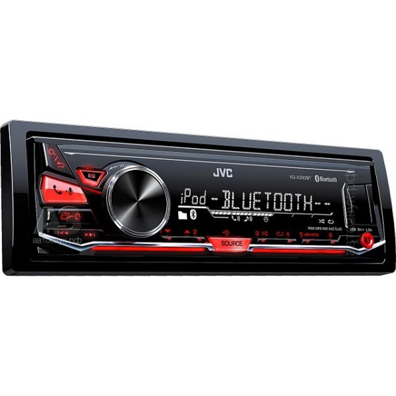 Автомагнитола JVC KD-X330BT, 1DIN, 4X50Вт, USB, AUX-вход, зарядка  ерез USB 1,5А, с поддержкой FLAC, Bluetooth