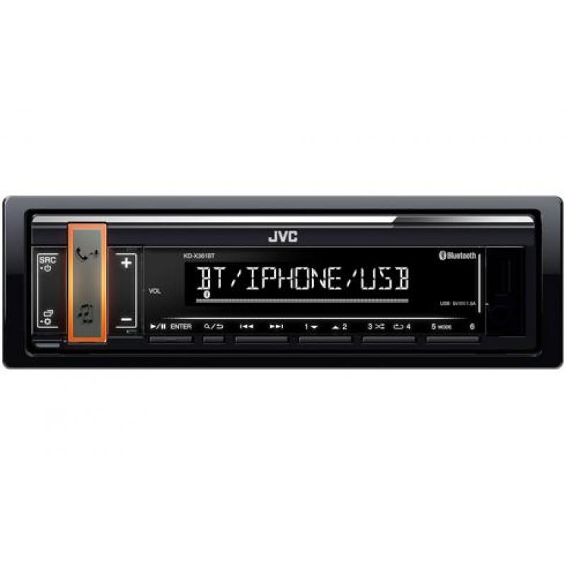 Автомагнитола JVC KD-X361BT, 1DIN, 4X50Вт, USB, AUX-вход, зарядка  ерез USB 1,5А, с поддержкой FLAC, мультиизменяемая подсветка, Bluetooth