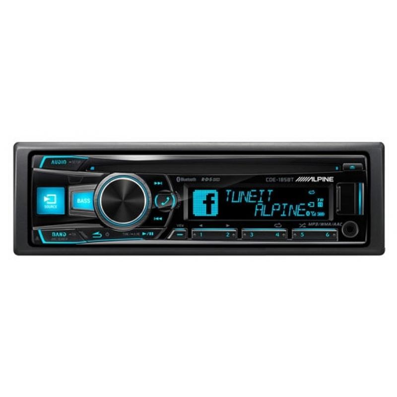 Автомагнитола ALPINE CDE-185BT, 1DIN, CD/MP3-проигрыватель, 4X50Вт, USB, AUX-вход, Bluetooth