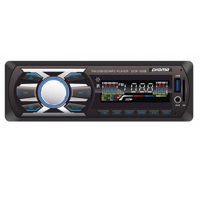Автомагнитола Digma DCR-310B, 1DIN, 4X45Вт, USB/SD, AUX-вход