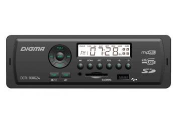Автомагнитола Digma DCR-100G, 1DIN, 4X45Вт, USB/SD, AUX-вход