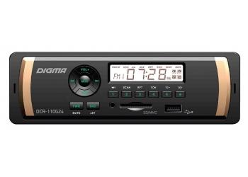 Автомагнитола Digma DCR-110G, 1DIN, 4X45Вт, USB/SD, AUX-вход