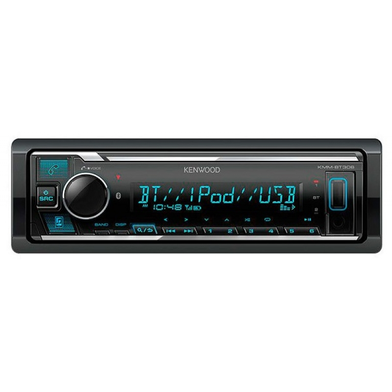 Автомагнитола KENWOOD KMM-BT306, 1DIN, 4X50Вт, USB, AUX-вход, с поддержкой FLAC, управление iPhone или iPod, Bluetooth, 3 RCA-выхода
