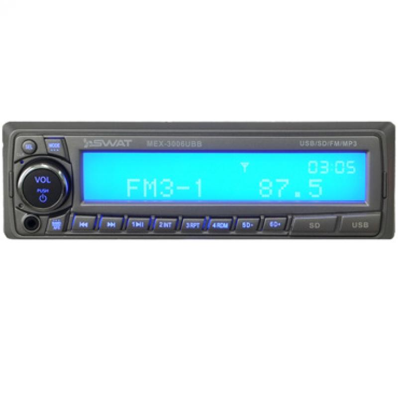 Автомагнитола SWAT MEX-3006UBB, 1DIN, 4X45Вт, USB/SD, AUX-вход