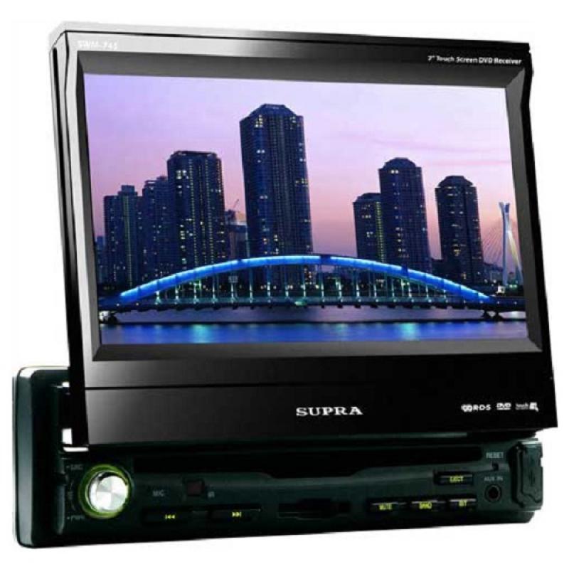 Автомагнитола SUPRA SWM-745, Мультимедиа, 1DIN, CD/DVD-проигрыватель, 4X50Вт, USB/SD, Выдвижной экран