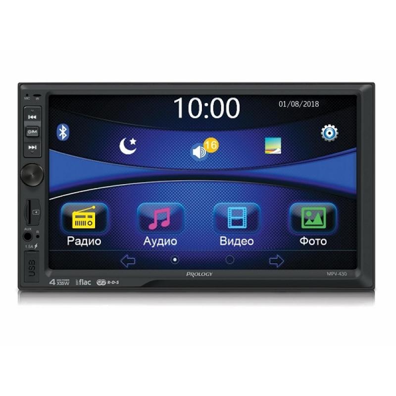 Автомагнитола PROLOGY MPV-430, Мультимедиа, 2DIN, 4X55Вт, USB/SD, AUX-вход, Сенсорный экран, Bluetooth
