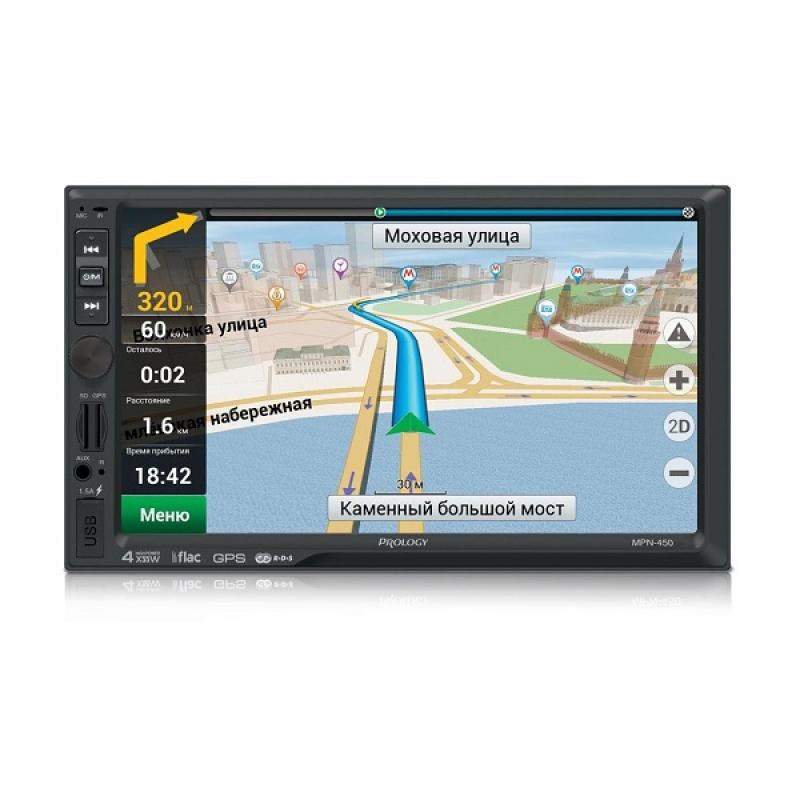 Автомагнитола PROLOGY MPN-450, Мультимедиа, 2DIN, 4X55Вт, USB/SD, AUX-вход, Сенсорный экран, Bluetooth, Навигация