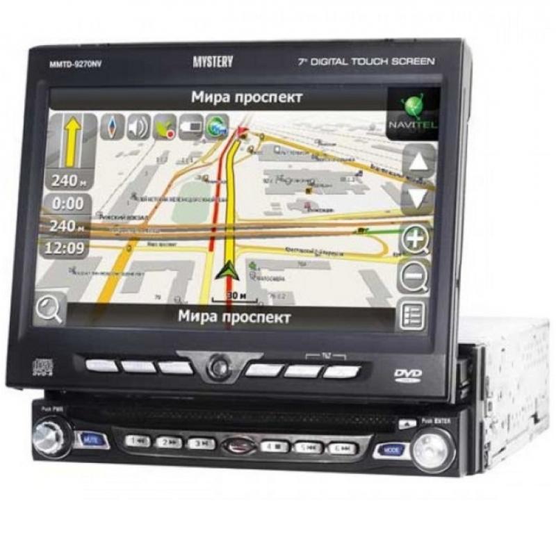 Автомагнитола MYSTERY MMTD-9270NV, Мультимедиа, 1DIN, CD/DVD-проигрыватель, 4X50Вт, USB/SD, ТВ-тюнер, Навигация, Выдвижной экран