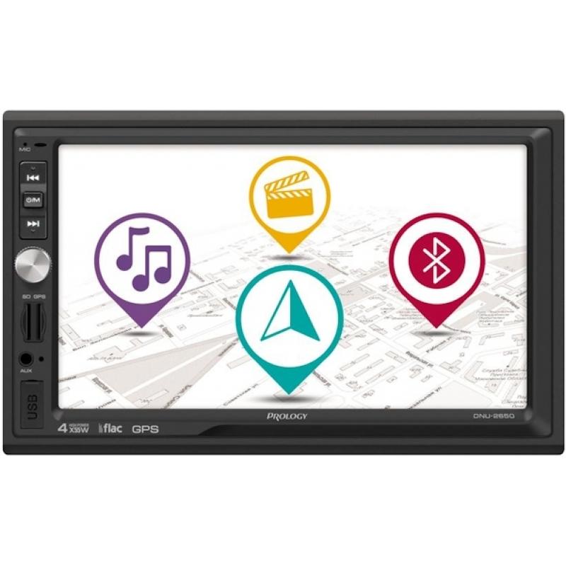 Автомагнитола PROLOGY DNU-2650, Мультимедиа, 2DIN, 4X55Вт, USB/SD, AUX-вход, Сенсорный экран, Bluetooth, Навигация
