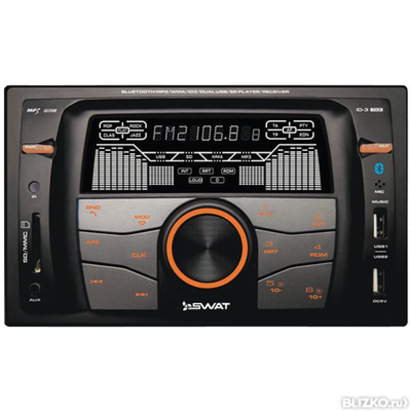 Автомагнитола SWAT WX-216UBA, CD/MP3-проигрыватель, 4X50Вт, USB/SD, AUX-вход, Bluetooth