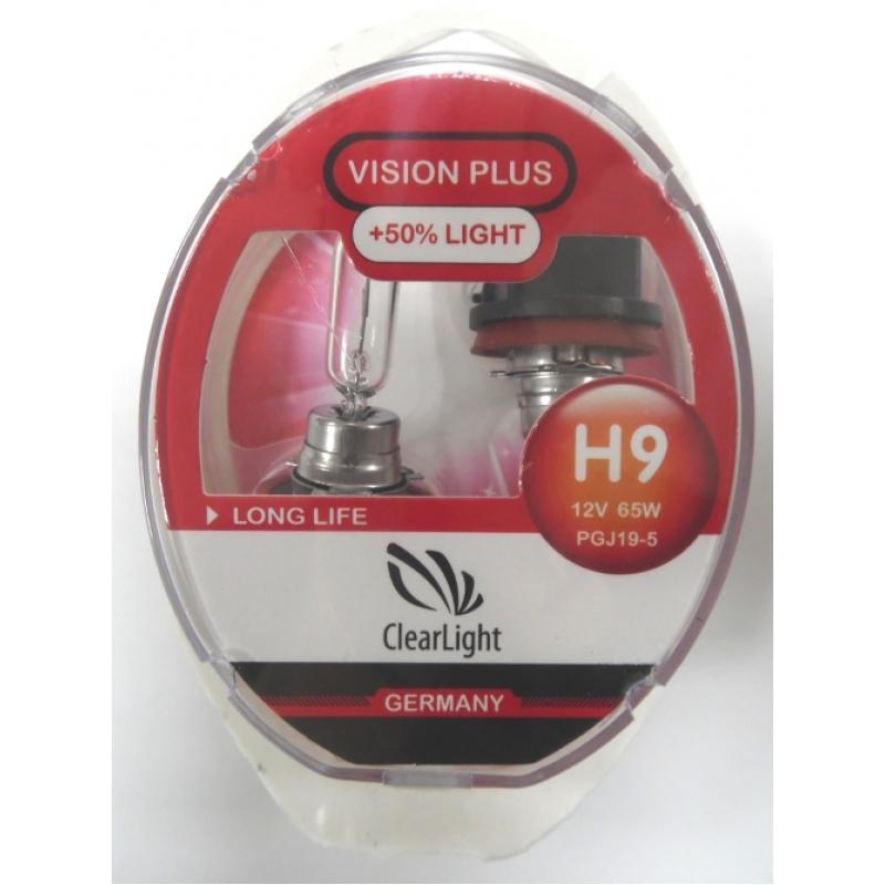 Галогеновая лампа ClearLight H9 12V-65W Vision Plus+50% Light 2шт