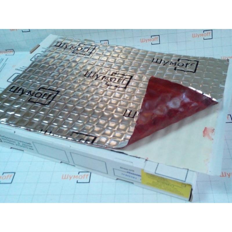 Шумофф L3 (0,37*0,27) - Материал вибропоглощающий, с мастикой низкой массы красного цвета