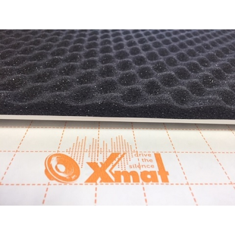 X.Mat Flex А15K (0,75м*1,0м*15мм) - шумо поглотитель и уплотнитель. Рельеф пирамидка